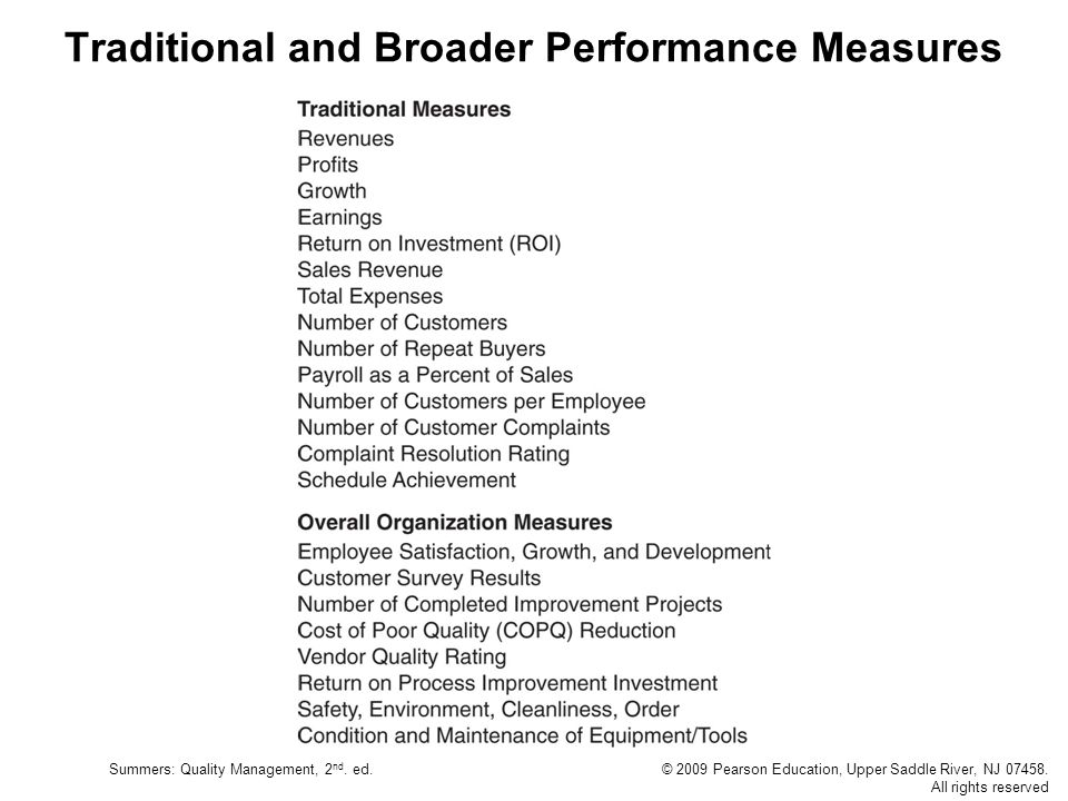 Traditional and Broader Performance Measures