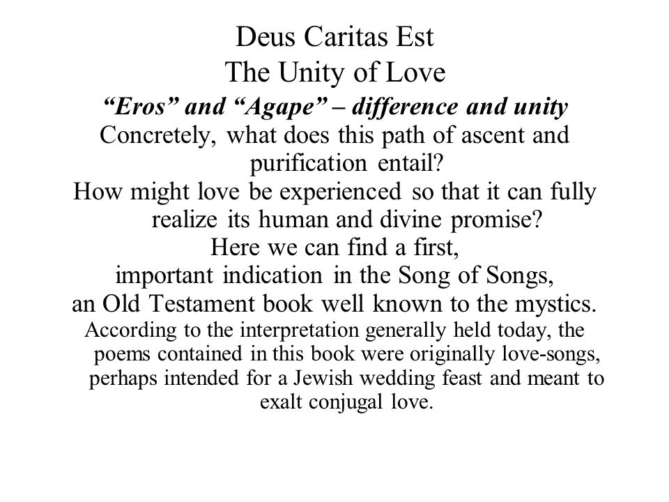 Deus Caritas Est The Unity of Love