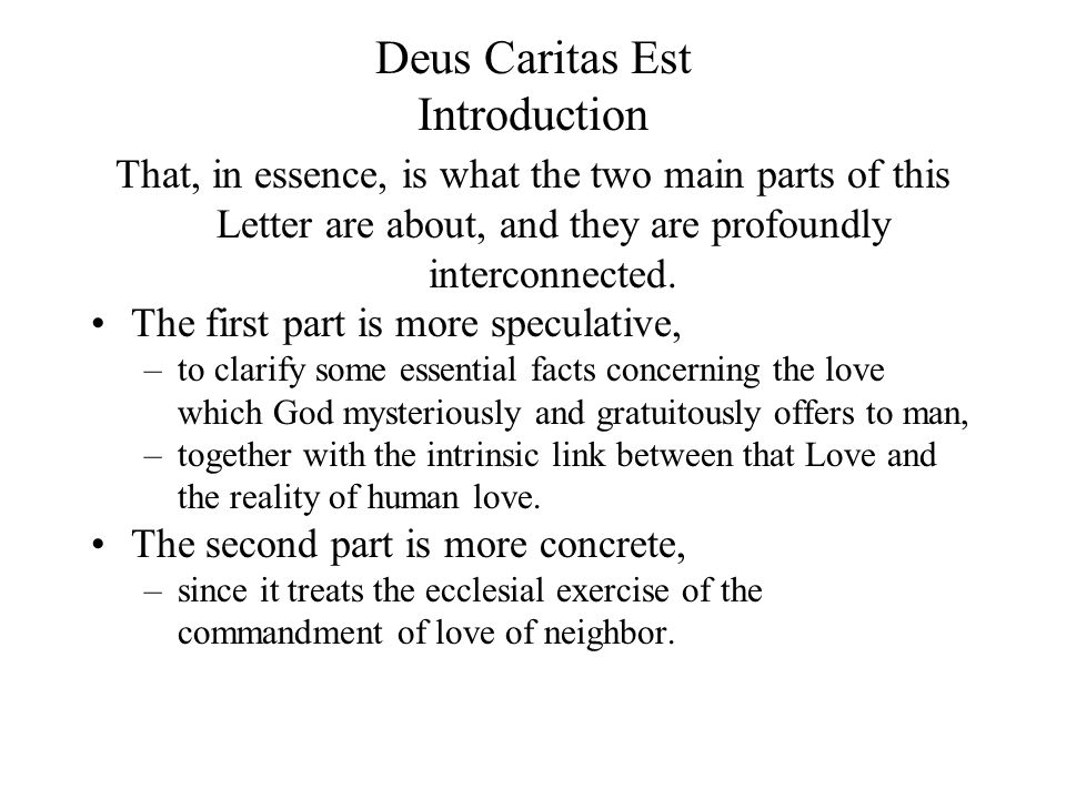Deus Caritas Est Introduction