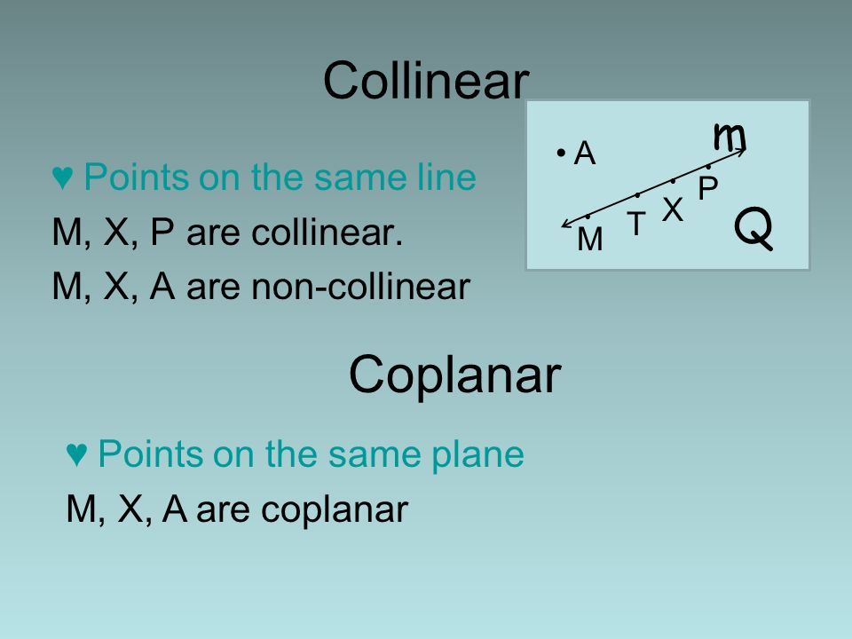 Collinear Coplanar m Q Points on the same line M, X, P are collinear.