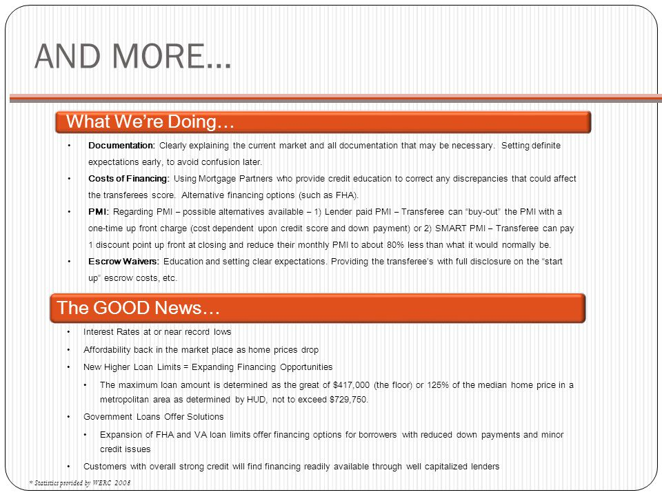 AND MORE… What We're Doing… The GOOD News…