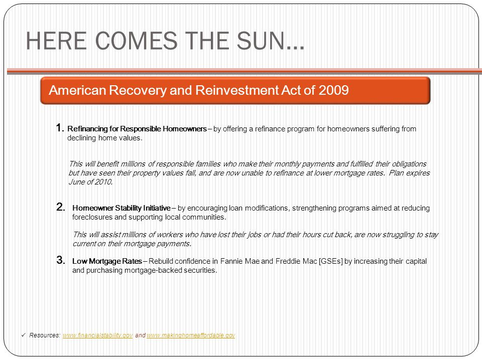 HERE COMES THE SUN… American Recovery and Reinvestment Act of 2009