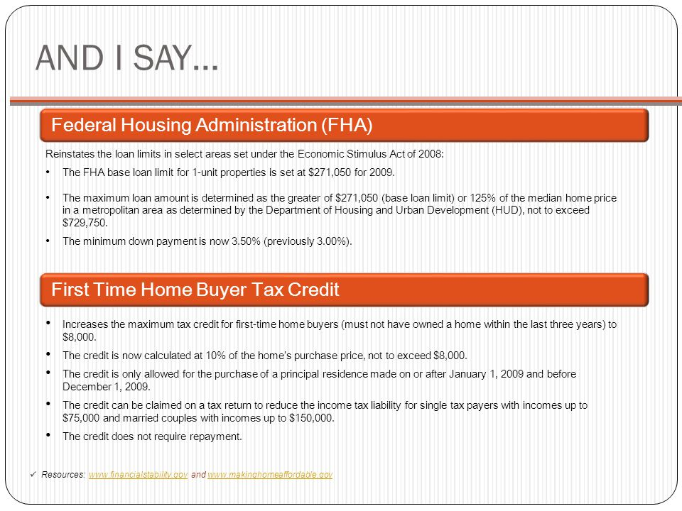 AND I SAY… Federal Housing Administration (FHA)