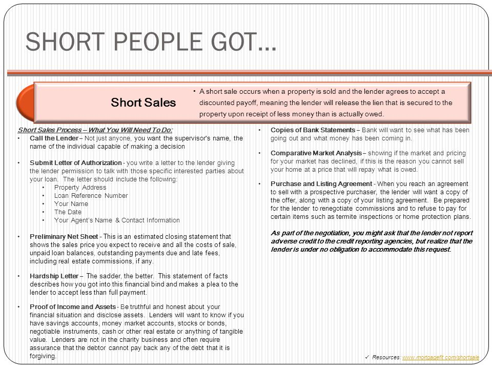 SHORT PEOPLE GOT… Short Sales