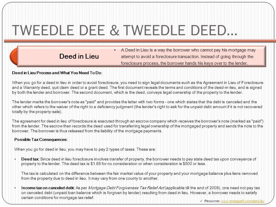 TWEEDLE DEE & TWEEDLE DEED…