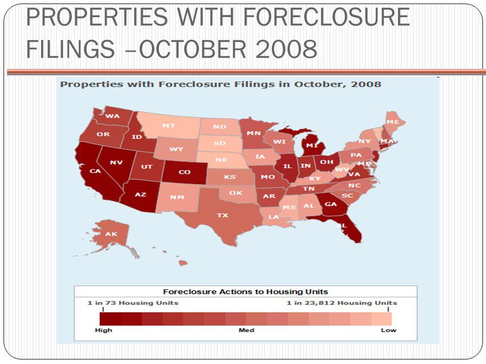 PROPERTIES WITH FORECLOSURE FILINGS –OCTOBER 2008