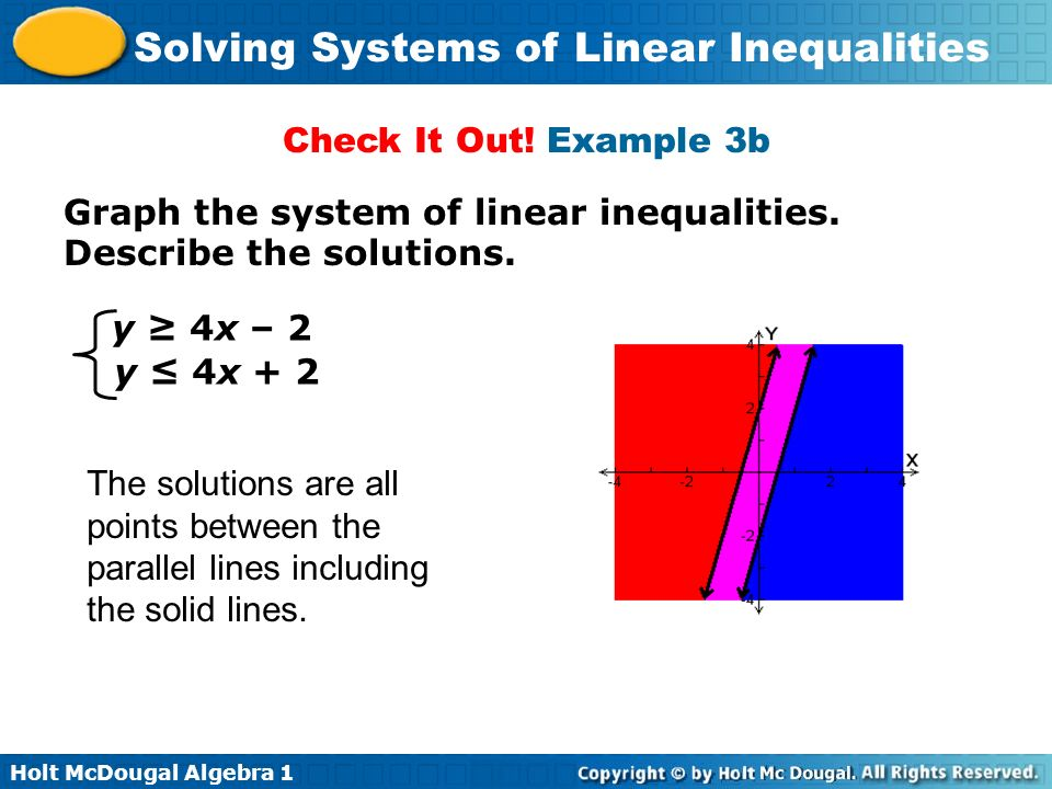 Check It Out! Example 3b Graph the system of linear inequalities. Describe the solutions. y ≥ 4x – 2.