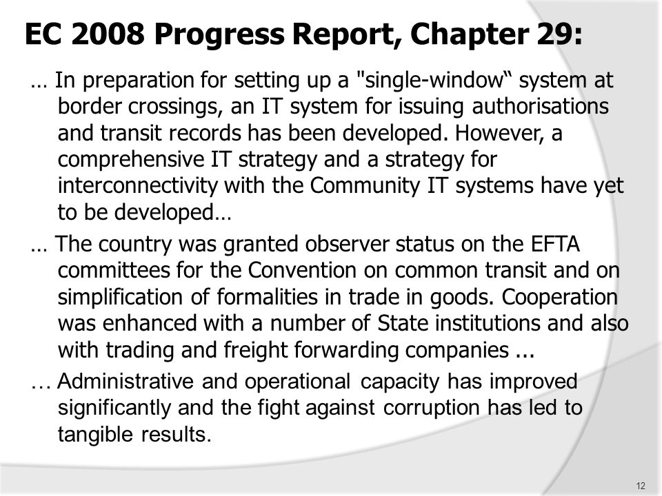 EC 2008 Progress Report, Chapter 29: