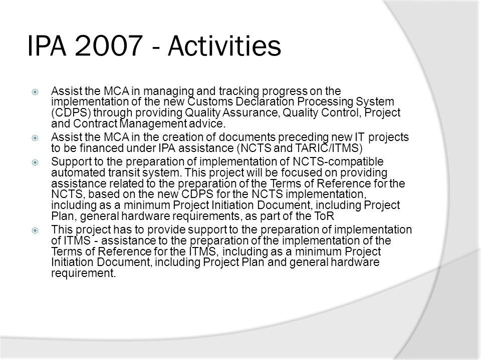 IPA 2007 - Activities