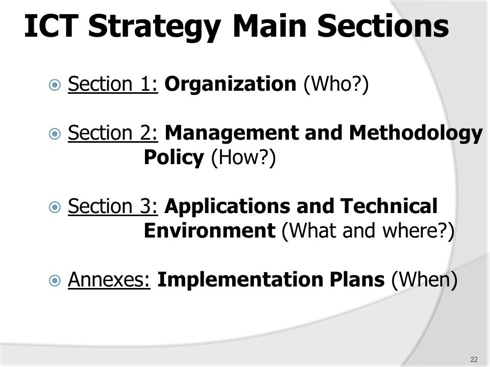 ICT Strategy Main Sections