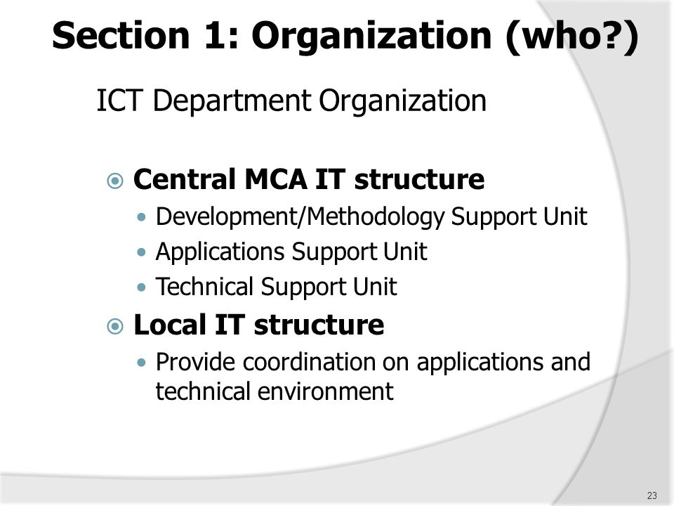 ICT Department Organization