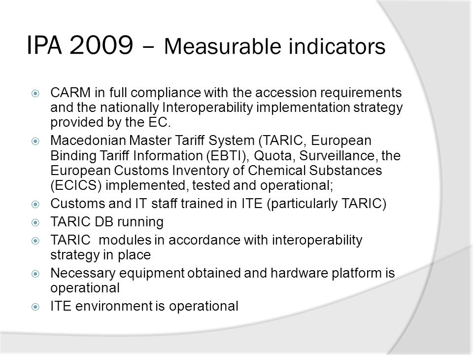 IPA 2009 – Measurable indicators