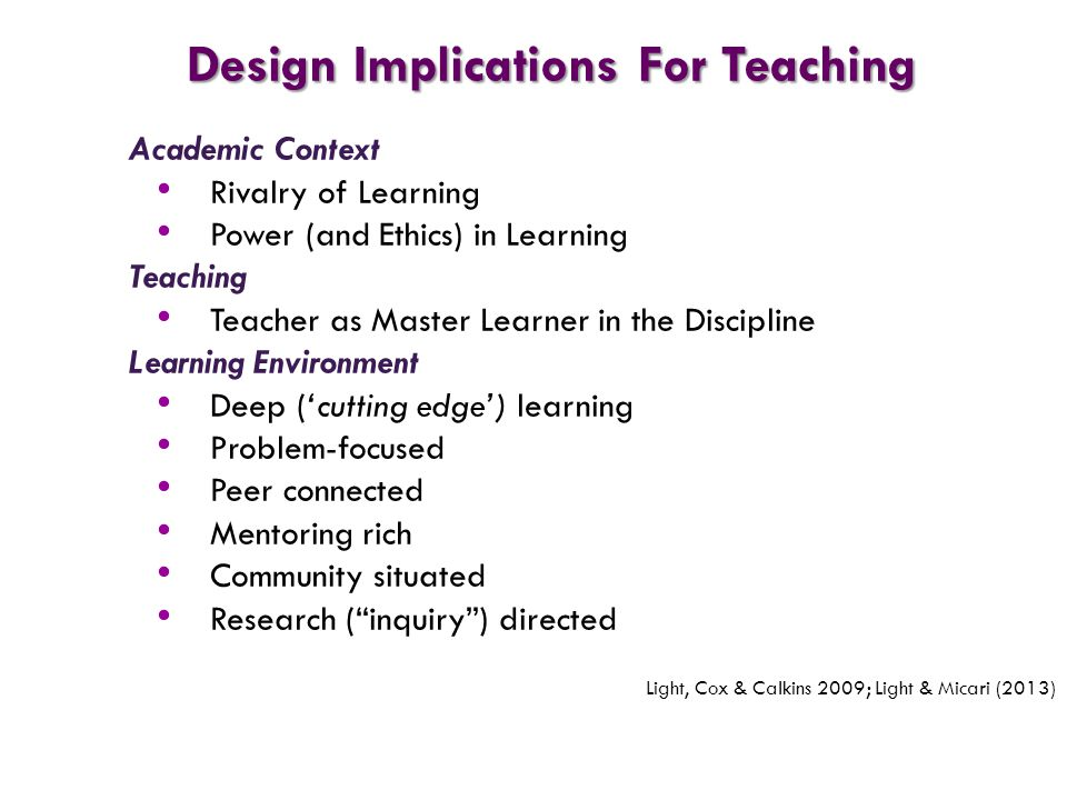 Design Implications For Teaching