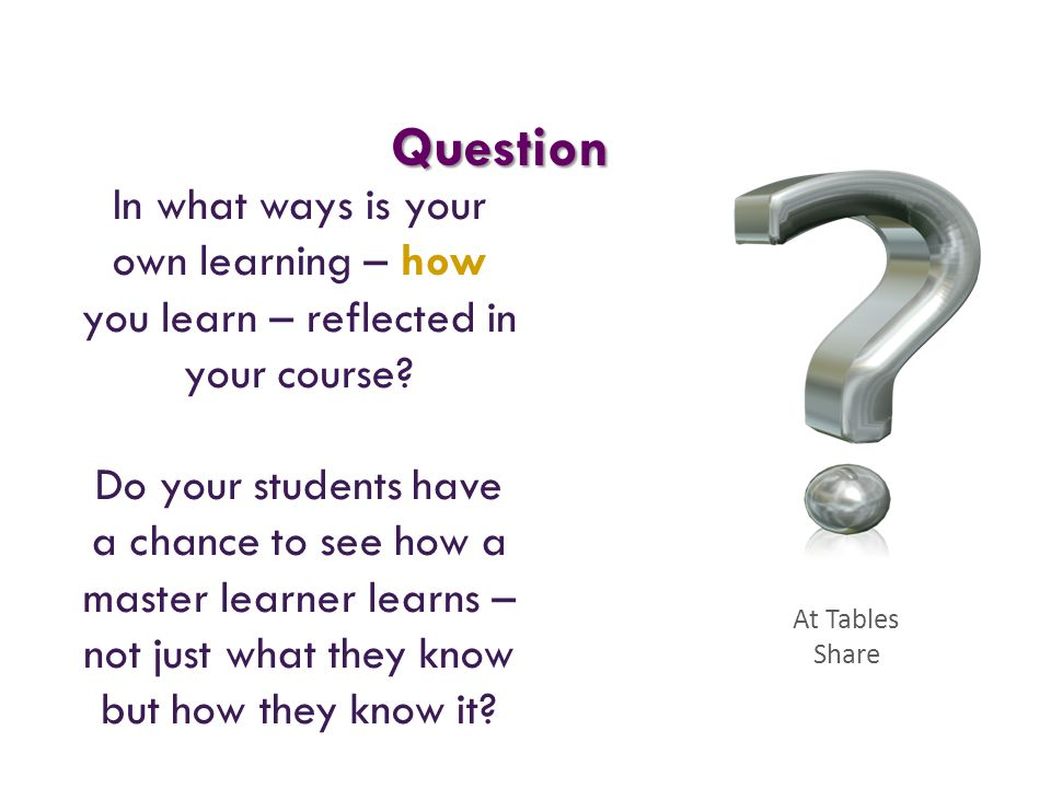 Question In what ways is your own learning – how you learn – reflected in your course