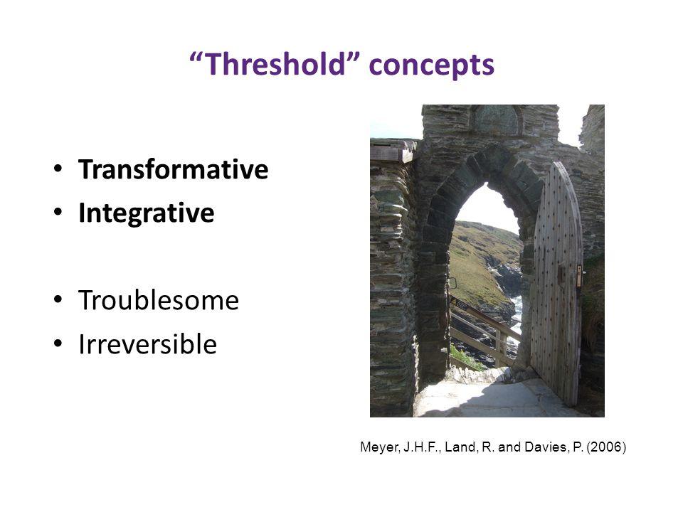 Threshold concepts Transformative Integrative Troublesome