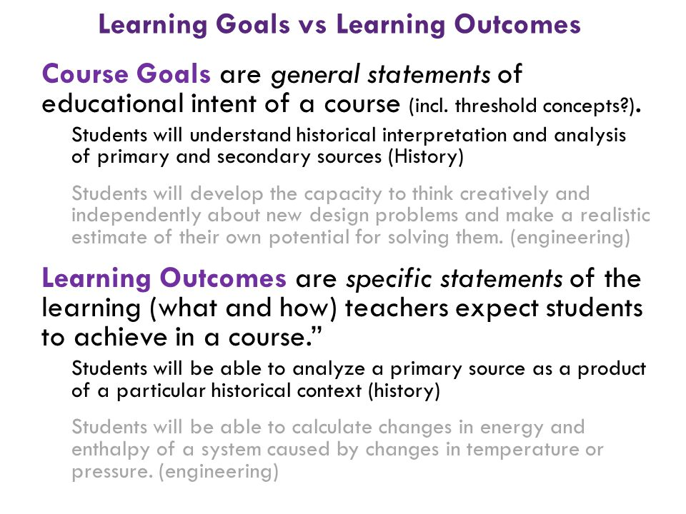 Learning Goals vs Learning Outcomes
