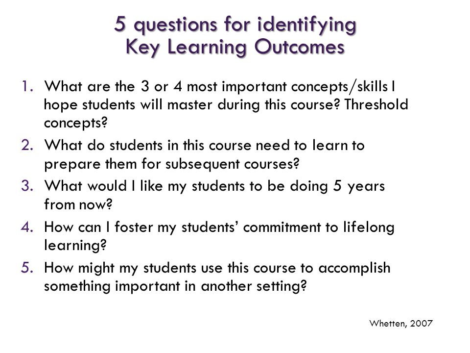 5 questions for identifying Key Learning Outcomes