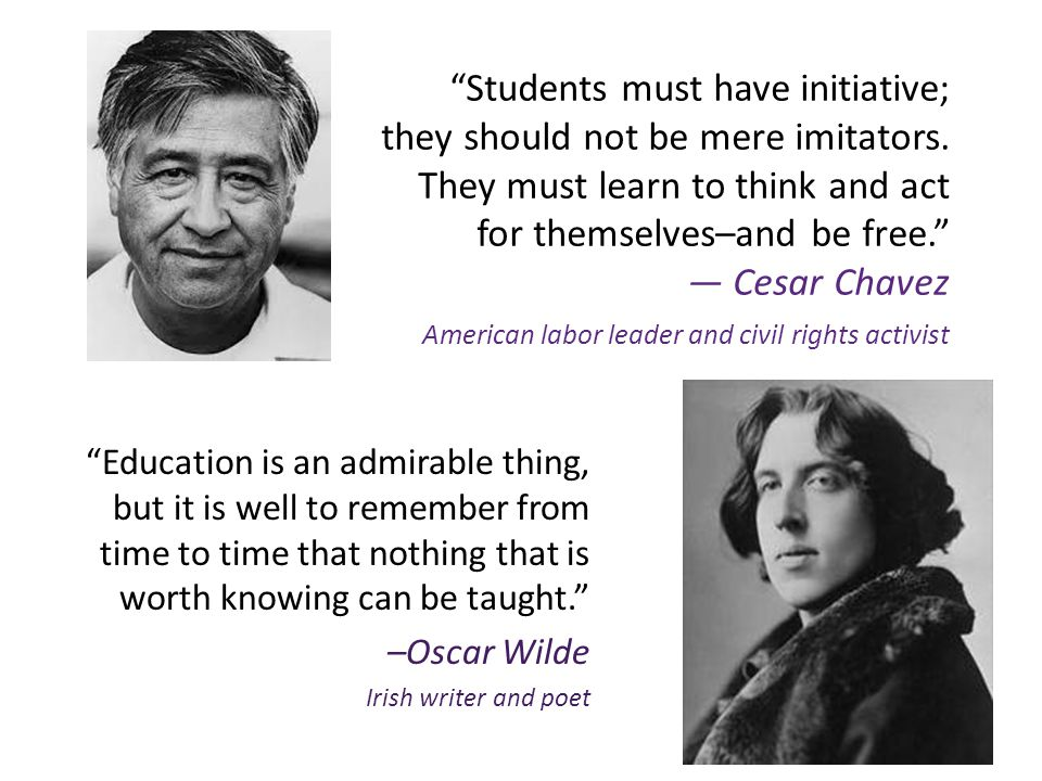 Students must have initiative; they should not be mere imitators