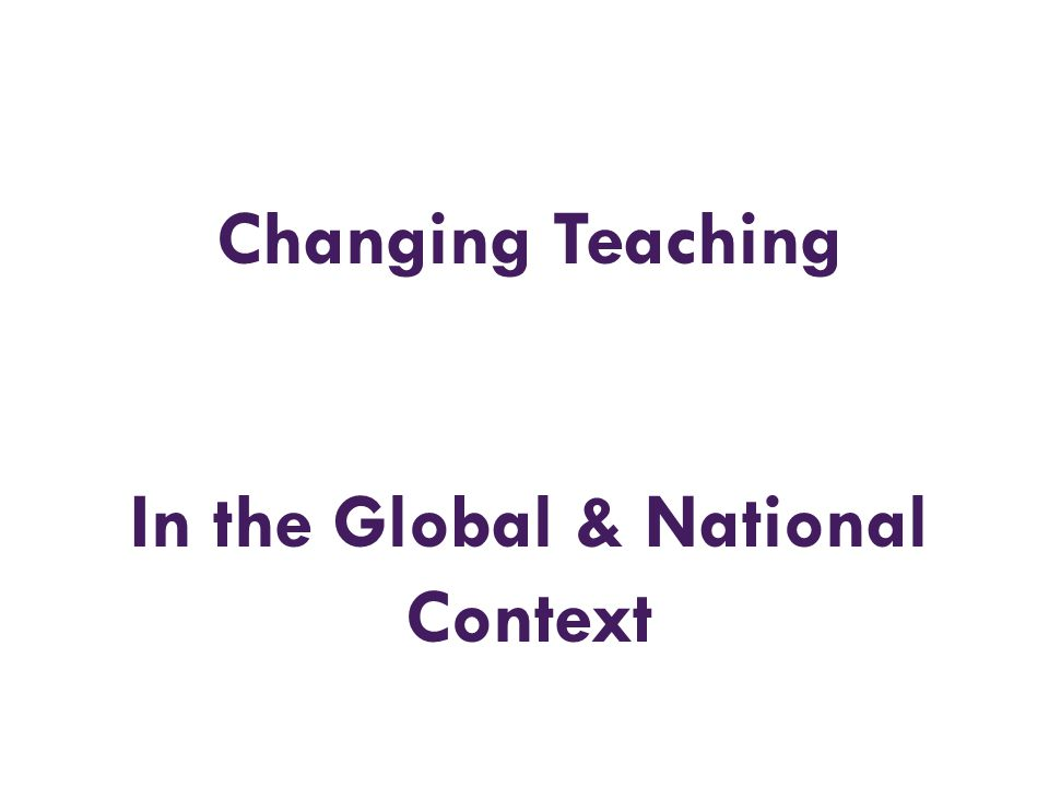 In the Global & National Context