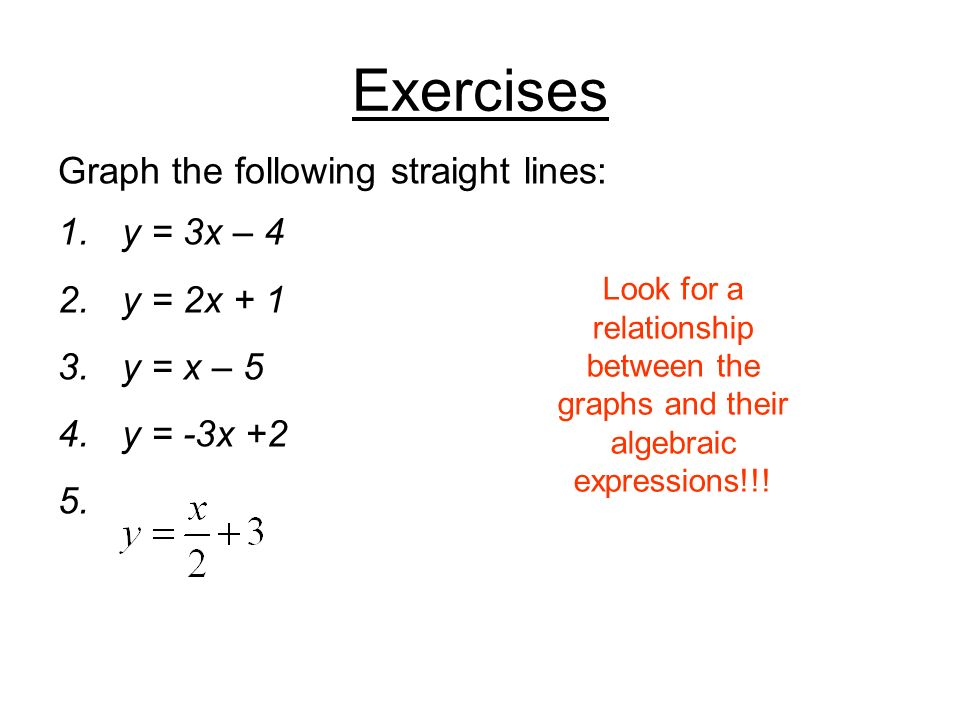 Exercises Graph the following straight lines: y = 3x – 4 y = 2x + 1