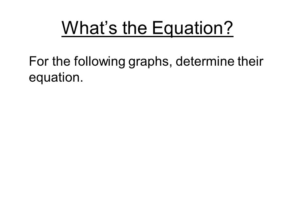What's the Equation For the following graphs, determine their equation.