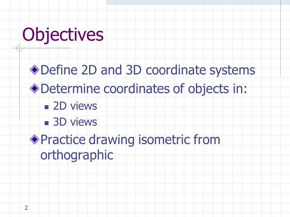 Objectives Define 2D and 3D coordinate systems