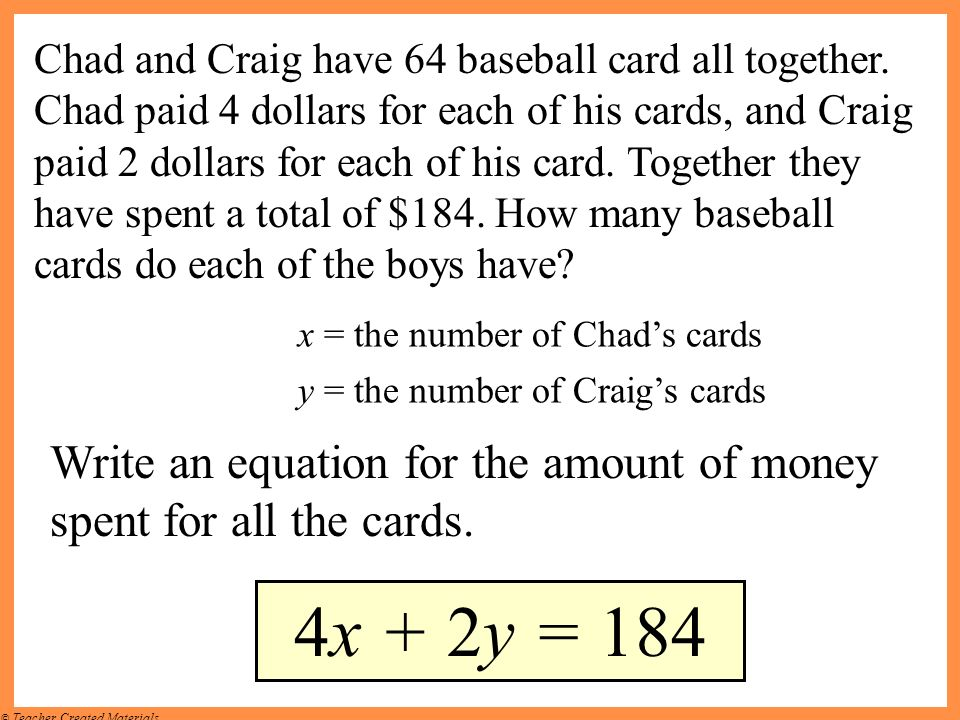 Chad and Craig have 64 baseball card all together