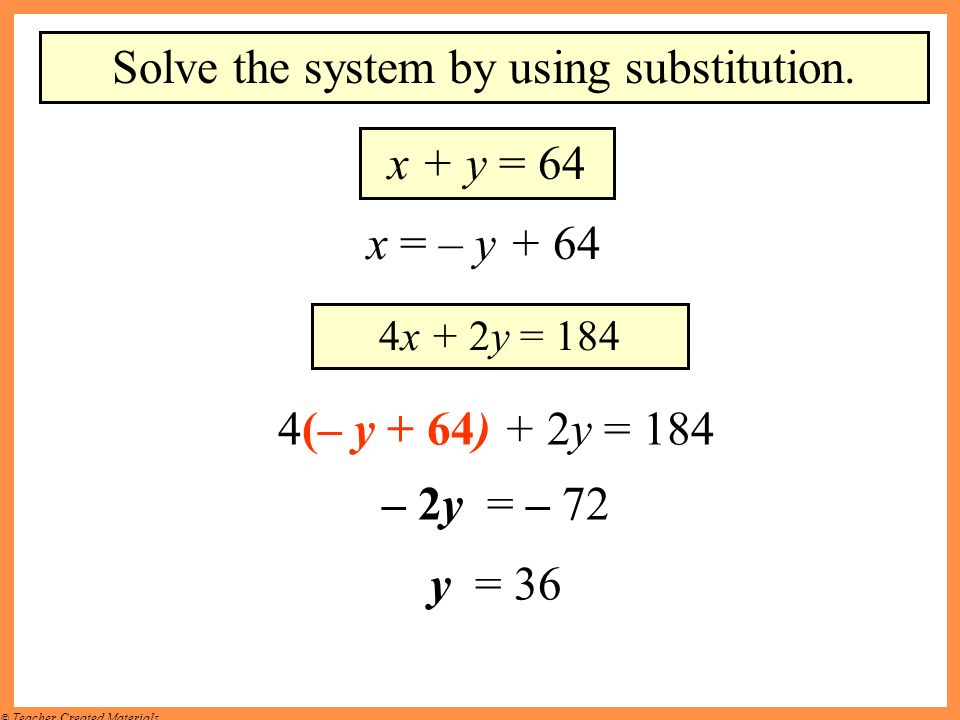 Solve the system by using substitution.