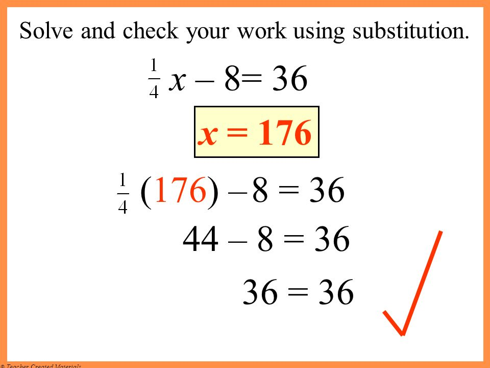 Solve and check your work using substitution.