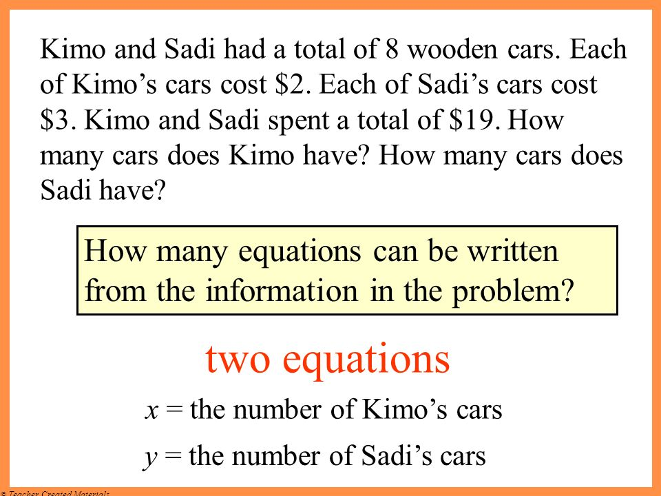 Kimo and Sadi had a total of 8 wooden cars. Each of Kimo's cars cost $2. Each of Sadi's cars cost $3. Kimo and Sadi spent a total of $19. How many cars does Kimo have How many cars does Sadi have