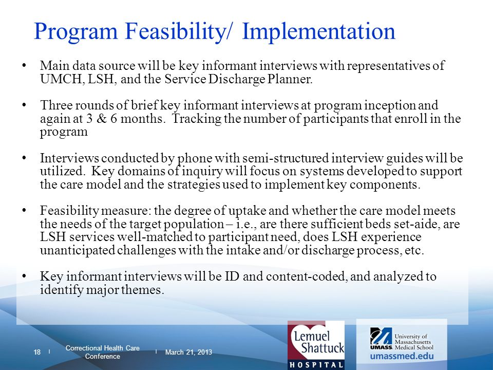 Program Feasibility/ Implementation
