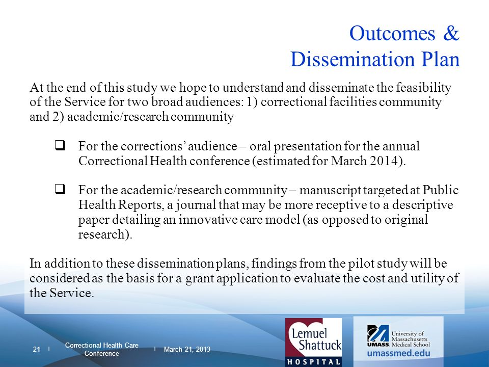 Outcomes & Dissemination Plan