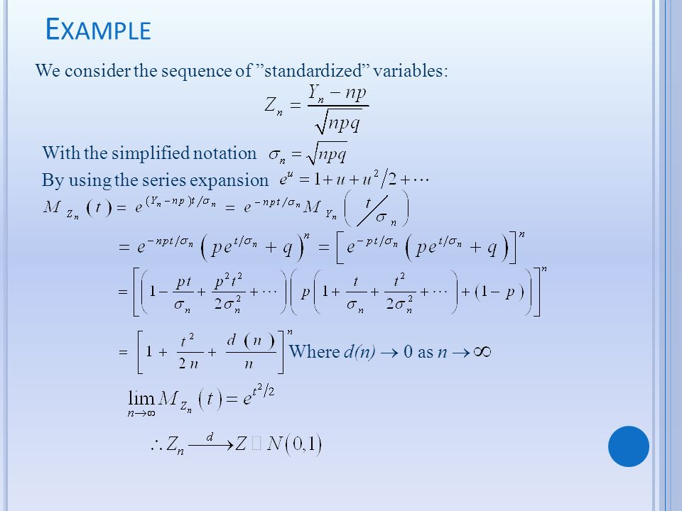 We consider the sequence of standardized variables: