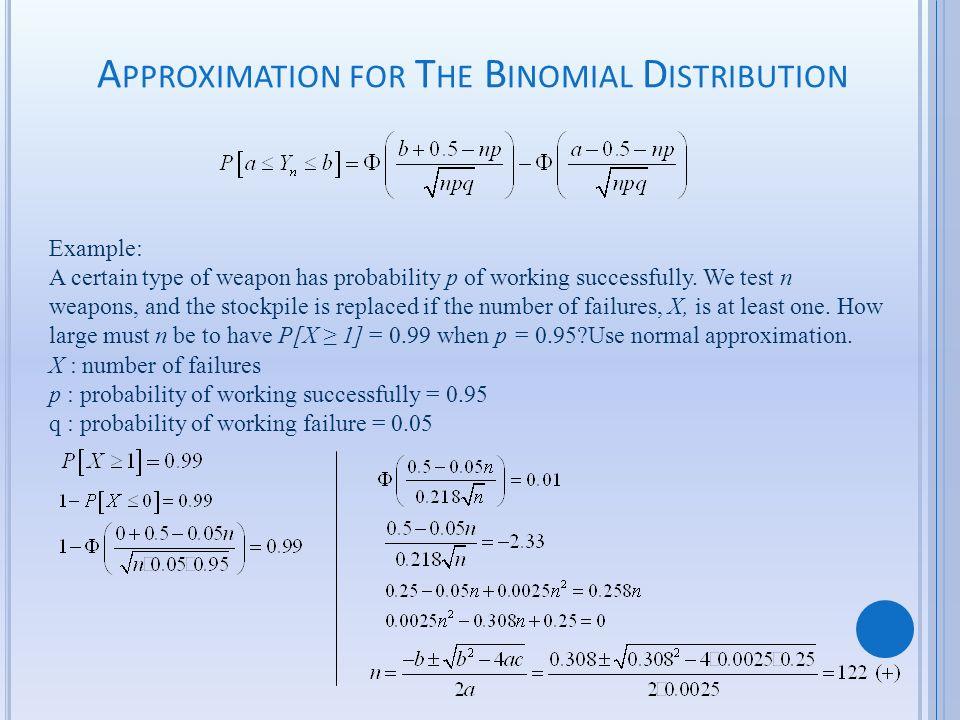 Approximation for The Binomial Distribution