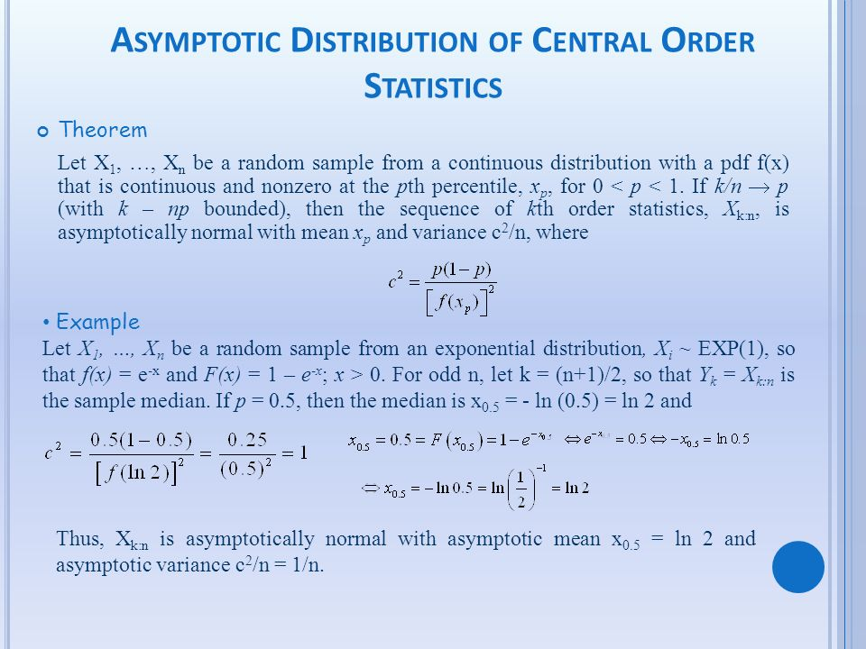 Asymptotic Distribution of Central Order Statistics
