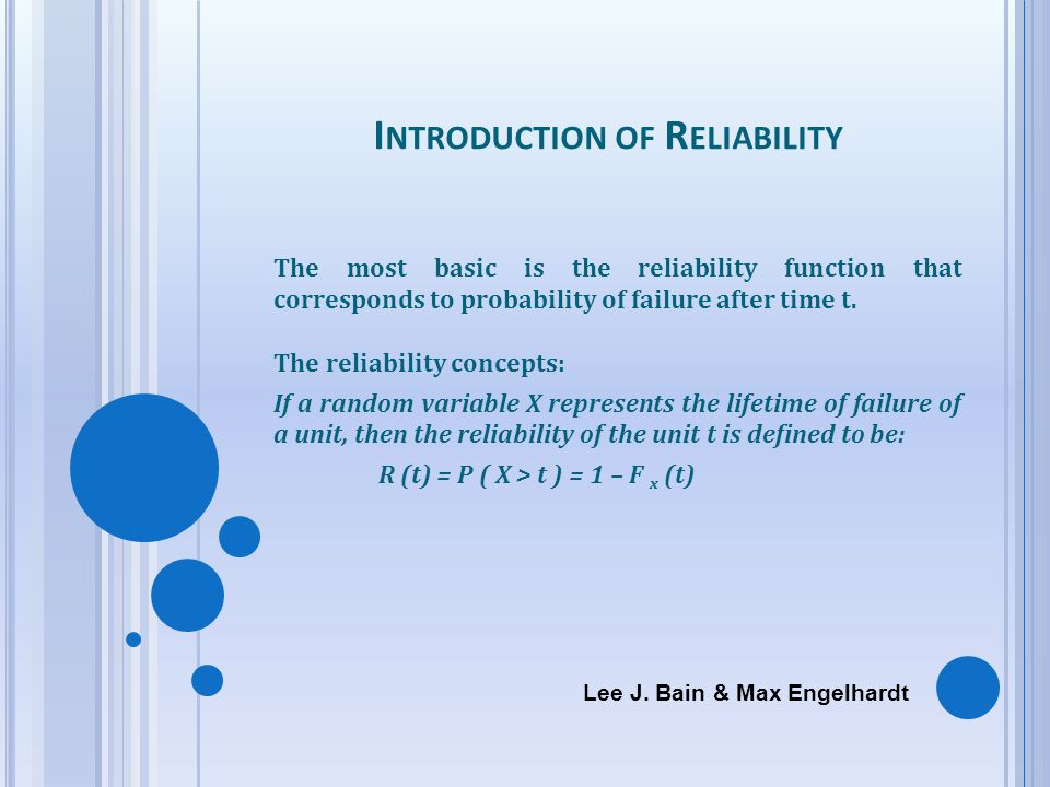 Introduction of Reliability