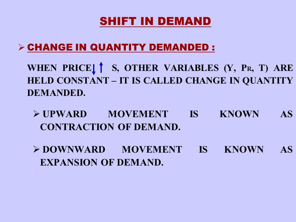 SHIFT IN DEMAND UPWARD MOVEMENT IS KNOWN AS CONTRACTION OF DEMAND.