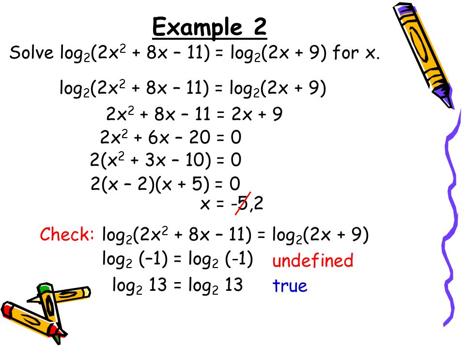 Example 2 Solve log2(2x2 + 8x – 11) = log2(2x + 9) for x.