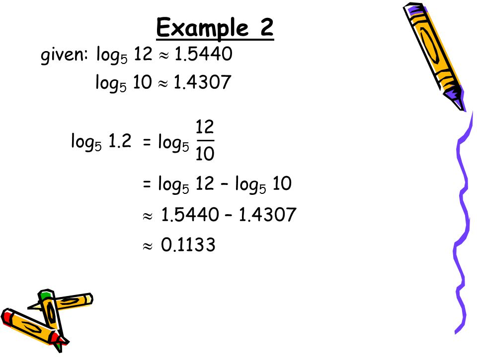 Example 2 given: log5 12  log5 10  log5 1.2 = log5