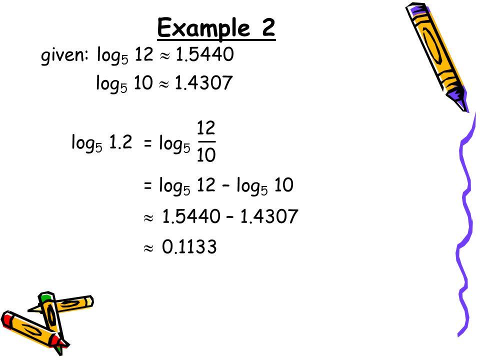 Example 2 given: log5 12  1.5440 log5 10  1.4307 12 log5 1.2 = log5