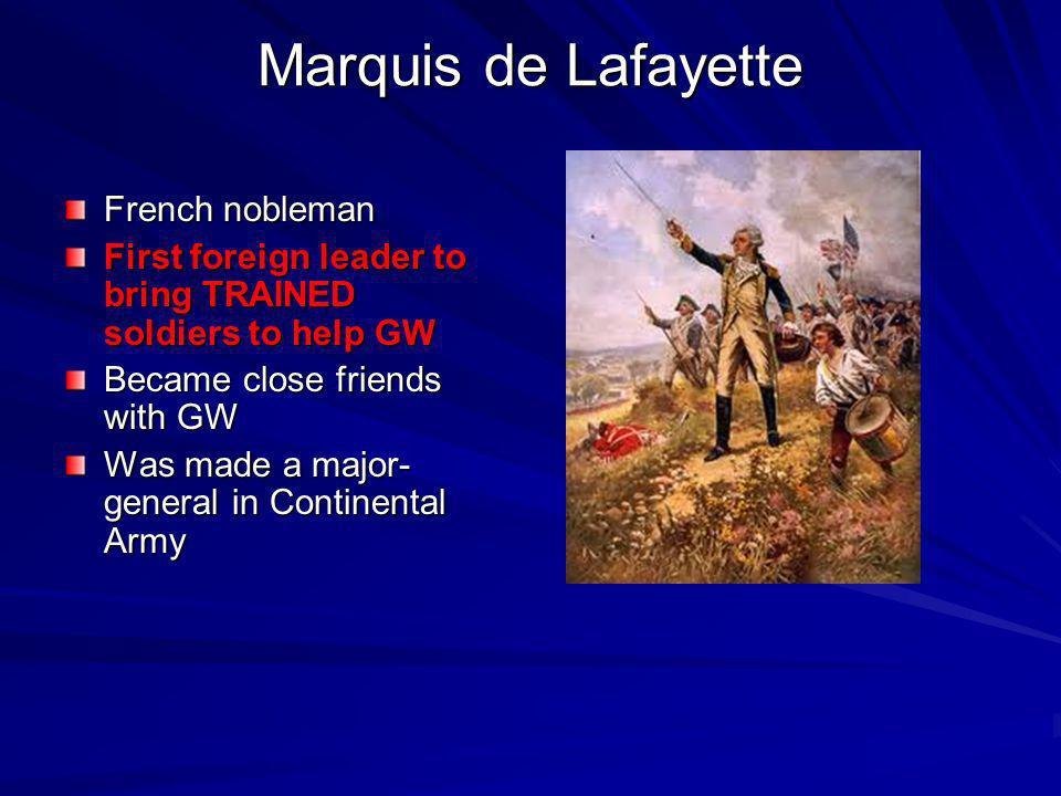 Marquis de Lafayette French nobleman