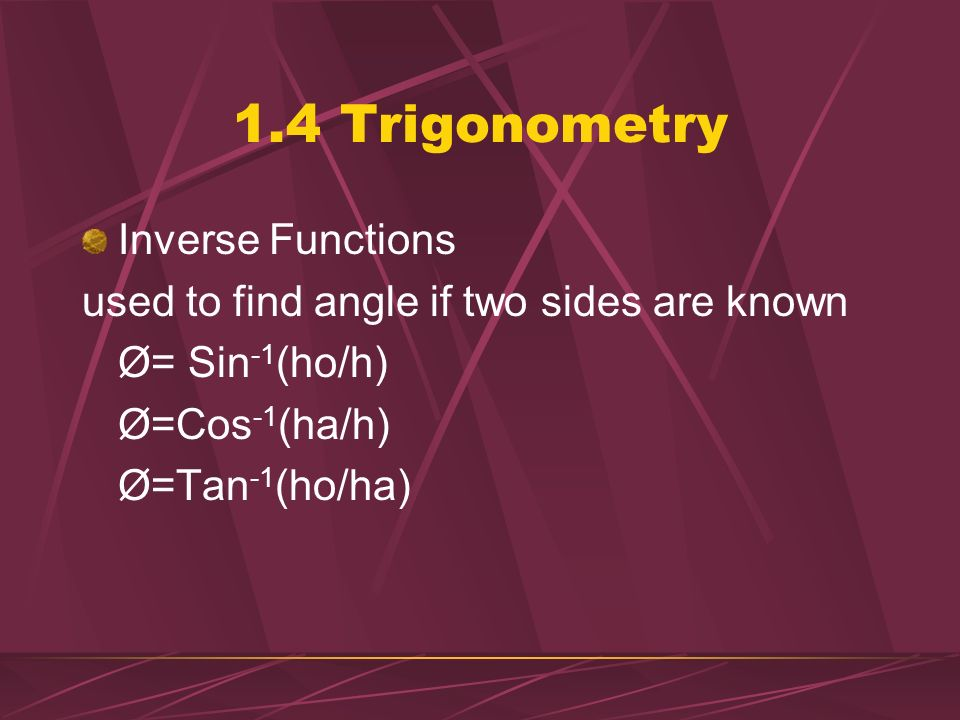 1.4 Trigonometry Inverse Functions