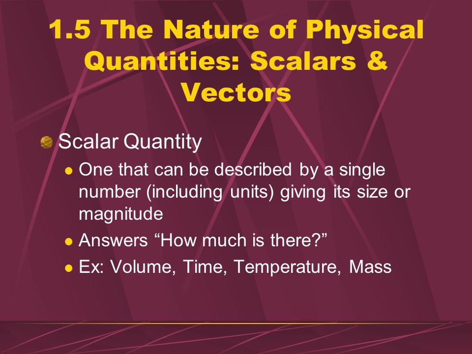 1.5 The Nature of Physical Quantities: Scalars & Vectors