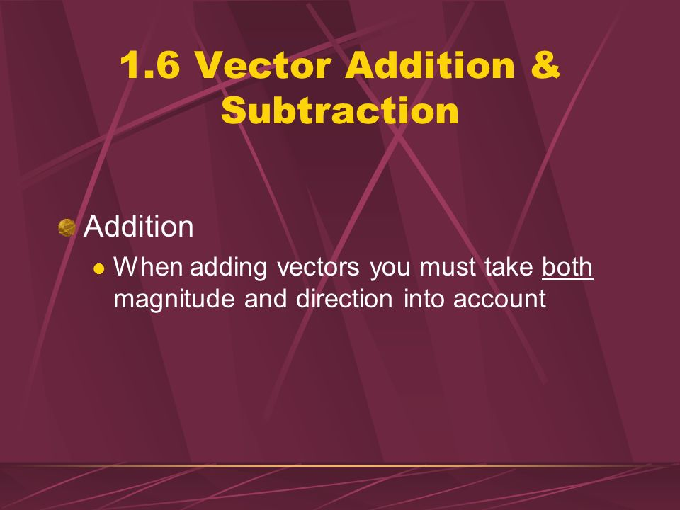 1.6 Vector Addition & Subtraction