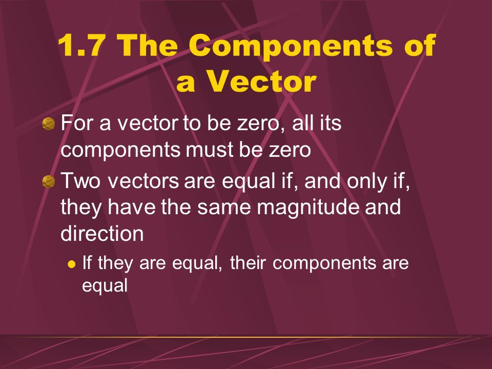 1.7 The Components of a Vector