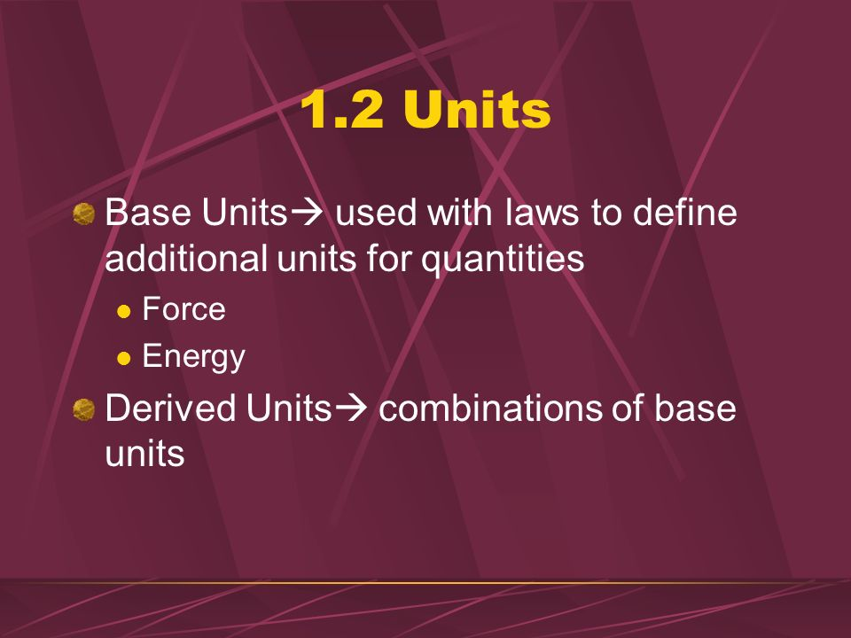 1.2 Units Base Units used with laws to define additional units for quantities.