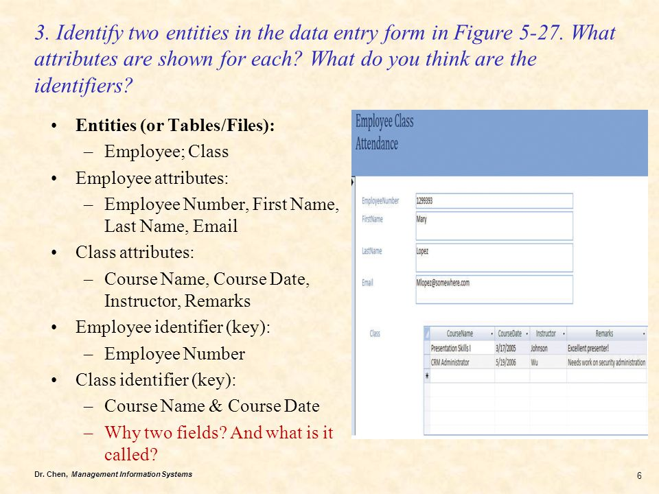 3. Identify two entities in the data entry form in Figure 5-27