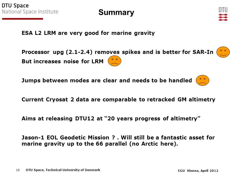 Summary ESA L2 LRM are very good for marine gravity