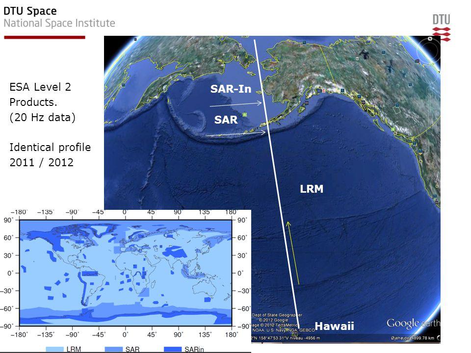 ESA Level 2 Products. (20 Hz data) Identical profile 2011 / 2012