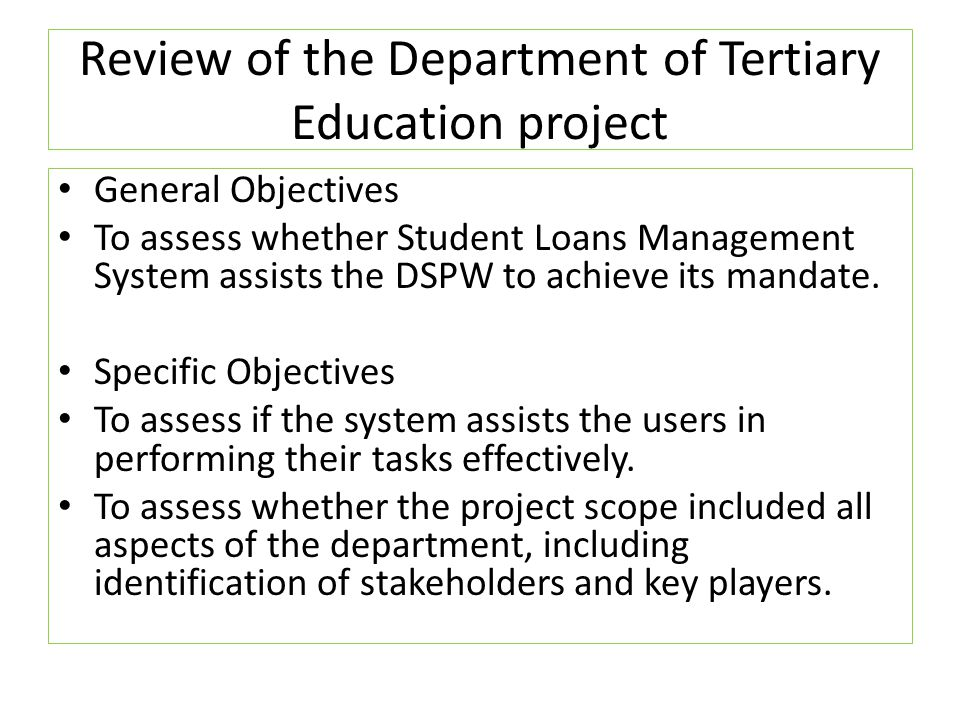 Review of the Department of Tertiary Education project